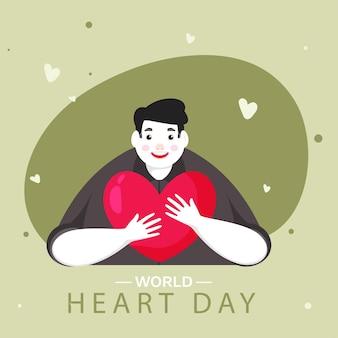 Illustrazione del giovane allegro che abbraccia un cuore rosso