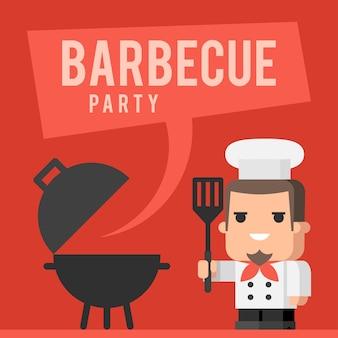 Illustrazione, concetto di chef e barbecue, formato eps 10