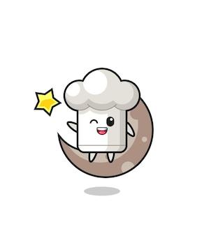 Illustrazione del fumetto del cappello da chef seduto sulla mezza luna, design in stile carino per maglietta, adesivo, elemento logo