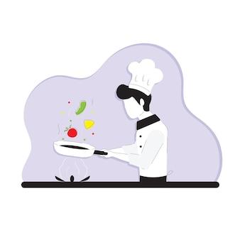 Illustrazione lo chef sta cucinando disegno semplice con meno colore strati di sfondo separati