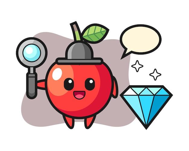 Illustrazione del carattere ciliegia con un diamante, design in stile carino