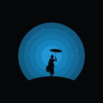 Illustrazione del design del logo di un bambino, silhouette di un bambino
