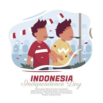 Illustrazione di bambini che corrono con le biglie il giorno dell'indipendenza indonesiana