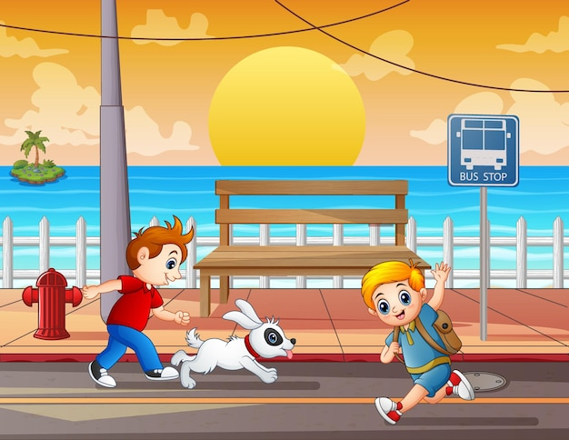 Illustrazione dei bambini che corrono per strada