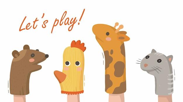 Illustrazione degli animali domestici del teatro del dito delle marionette dei bambini dai calzini