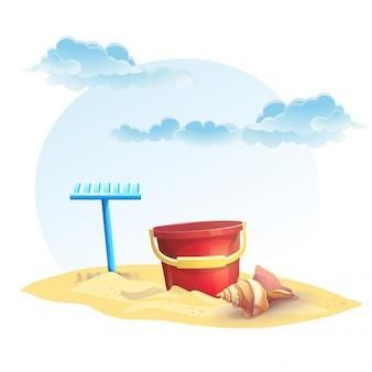 Illustrazione per secchio sabbia per bambini e un rastrello con guscio