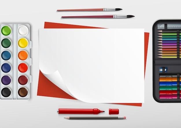 Illustrazione del posto di lavoro dei bambini con strumenti di disegno Vettore Premium