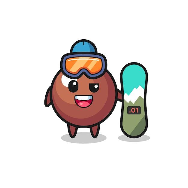 Illustrazione del personaggio della palla di cioccolato con stile snowboard, design in stile carino per maglietta, adesivo, elemento logo