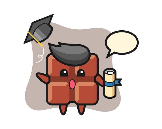 Illustrazione del fumetto della barretta di cioccolato che getta il cappello alla laurea, stile kawaii sveglio.