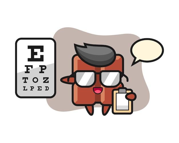 Illustrazione della mascotte della barretta di cioccolato come oftalmologia, stile kawaii carino.