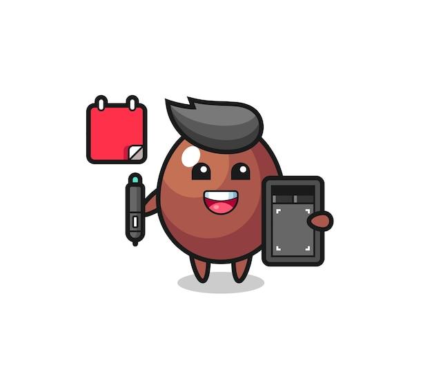 Illustrazione della mascotte dell'uovo di cioccolato come graphic designer, design carino