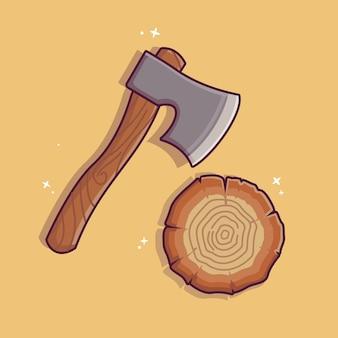 Illustrazione di tagliare la legna con l'ascia ascia con manico in legno