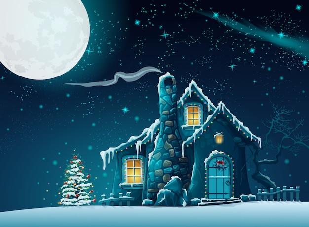 Illustrazione della notte di natale con una casa favolosa