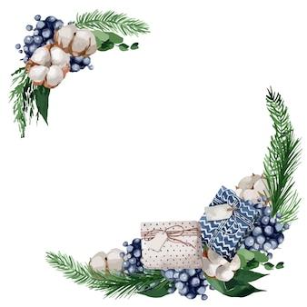 Illustrazione, ghirlanda di natale con rami di abete, bacche e cotoni Vettore Premium