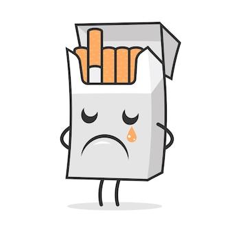 Illustrazione, pacchetto di sigarette piange e triste, formato eps 10