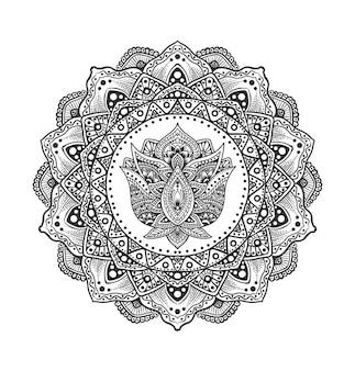 Mandala del cerchio dell'illustrazione con il fiore dell'ornamento di loto