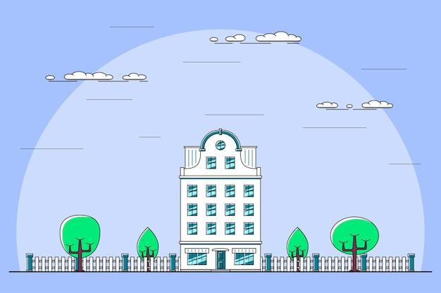 Illustrazione di un paesaggio cittadino con residenza cittadina, alberi, lampione. panchina e nuvole. l