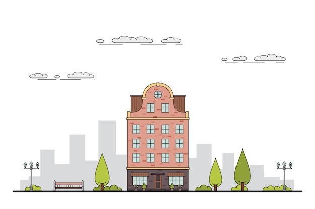 Illustrazione di un paesaggio cittadino con residenza cittadina, alberi, lampione. panchina e nuvole.