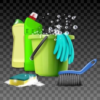 Illustrazione di prodotti per la pulizia, attrezzature da cucina e bagno per lavaggio, servizi igienici, scopa, secchio con acqua e spugna.