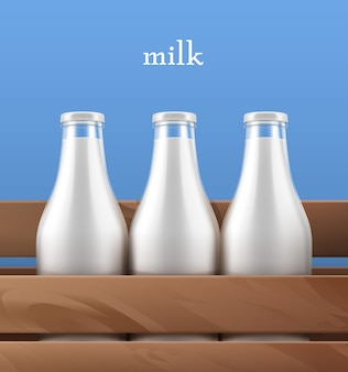 Illustrazione vista ravvicinata di bottiglie di vetro con latte fresco biologico in scatola di legno su sfondo blu con copyspace