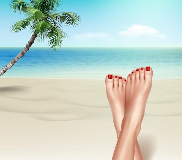Illustrazione dei piedi di donna da vicino in località di villeggiatura sulla spiaggia esotica