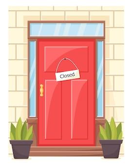 Illustrazione di una porta chiusa con sign.concept di quarantena.