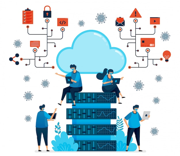 Illustrazione della piattaforma di cloud computing per supportare il nuovo lavoro normale. tecnologia di database per la pandemia di covid-19. il design può essere utilizzato per landing page, sito web, app per dispositivi mobili, poster, volantini, banner