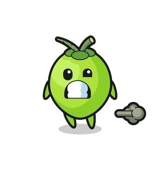 L'illustrazione del cartone animato di cocco che fa scoreggia