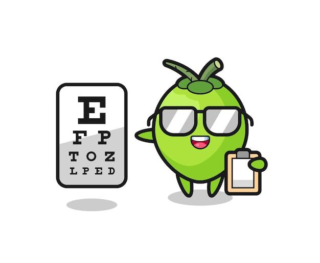 Illustrazione della mascotte di cocco come oftalmologia, design in stile carino per maglietta, adesivo, elemento logo