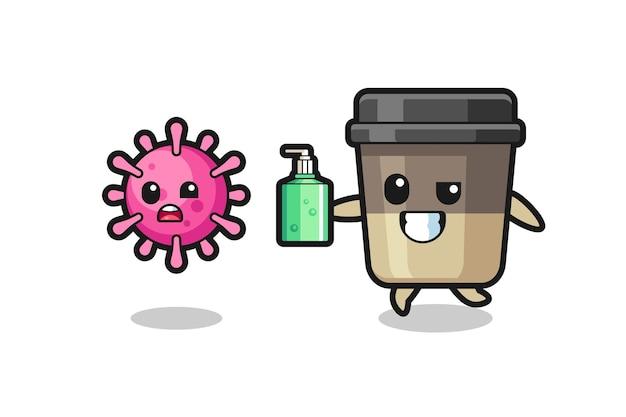 Illustrazione del personaggio della tazza di caffè che insegue il virus malvagio con disinfettante per le mani, design in stile carino per t-shirt, adesivo, elemento logo