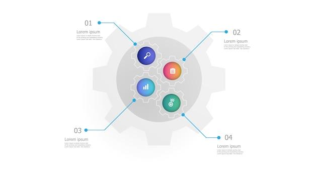 L'illustrazione degli ingranaggi del dente spinge il modello verticale di infographics 4 punti