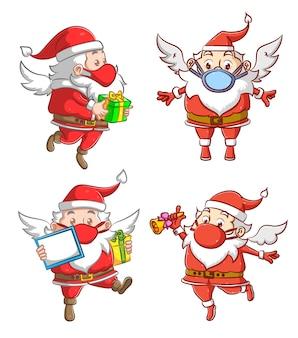 L'illustrazione della collezione del babbo natale contiene gli attributi per la festa del regalo di natale