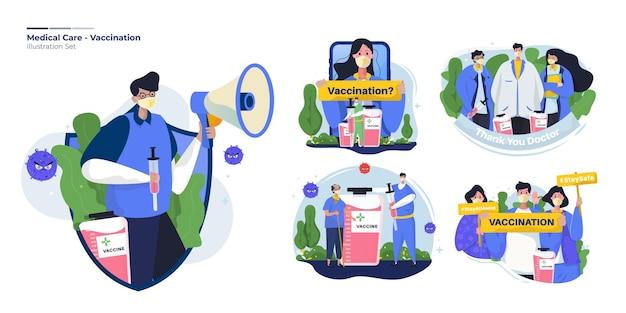 Raccolta di illustrazione impostata sul concetto di vaccinazione sanitaria