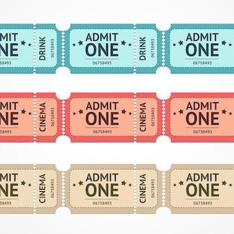 Illustrazione biglietto a colori linea impostata isolato su uno sfondo bianco.