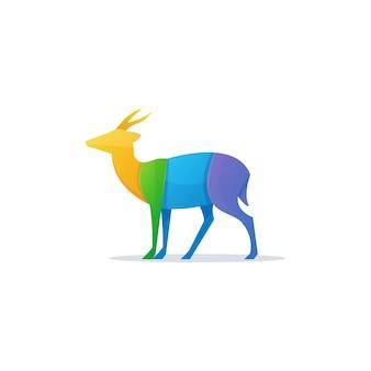 Illustrazione modello di progettazione di logo di cervi colorati.