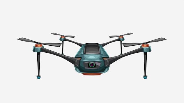 Illustrazione del drone colorato moderno vista frontale isolato su bianco