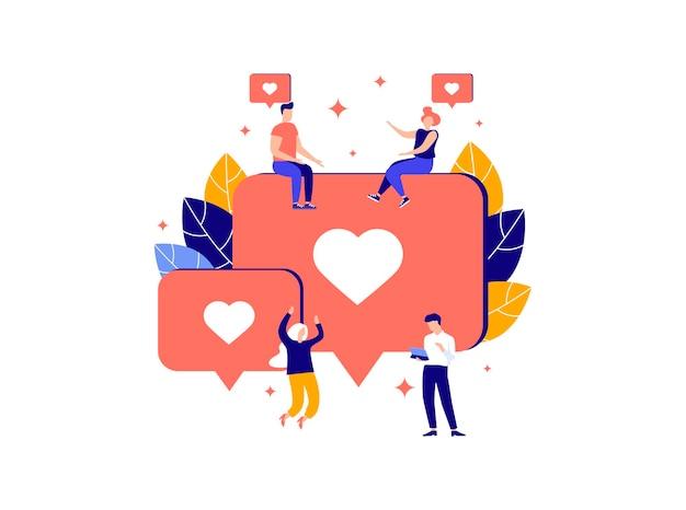 Illustrazione della comunicazione su internet social network messaggi sito web chat video come
