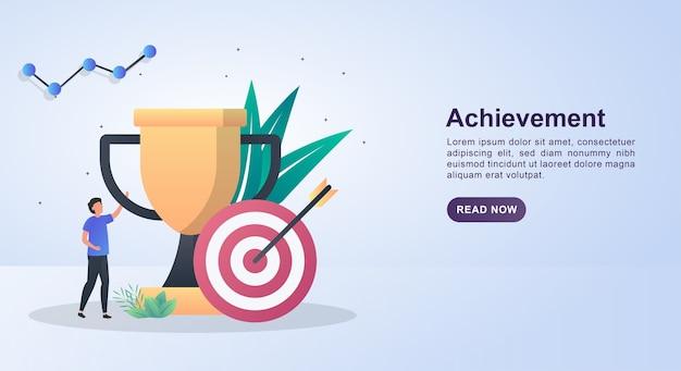 Concetto di illustrazione di successo con grandi trofei e obiettivi.