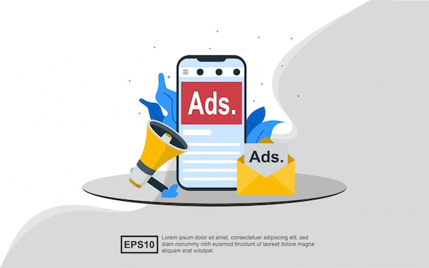 Concetto di illustrazione della pubblicità.