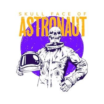 Concetto di illustrazione dell'astronauta con la faccia del cranio