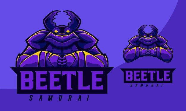 Illustrazione concetto beetle samurai con stile cartoon