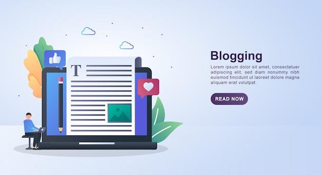 Illustrazione concetto di blogging con un portamatite sul lato del computer.