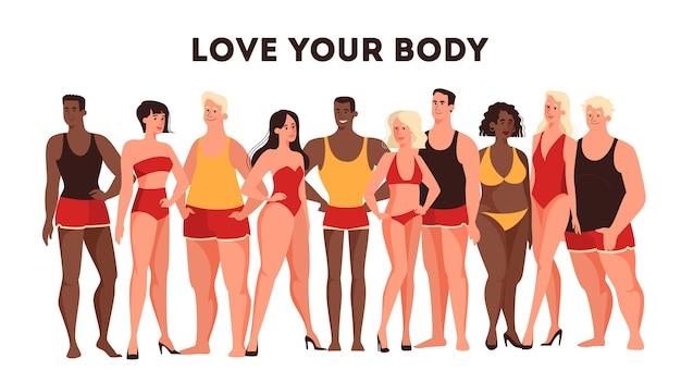 Illustrazione per il concetto di bodypositive. personaggio femminile e maschile di diversi tipi di corpo che stanno insieme in mutande. un'azienda di persone multicolori e multidimensionali.