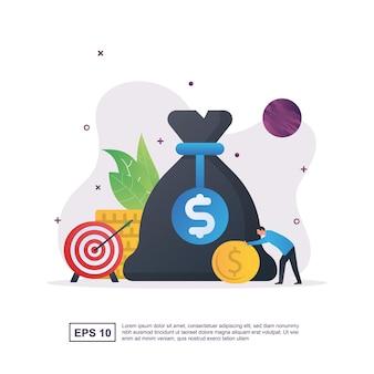 Illustrazione concetto di bilancio con persone sedute su monete e calcolatrice.