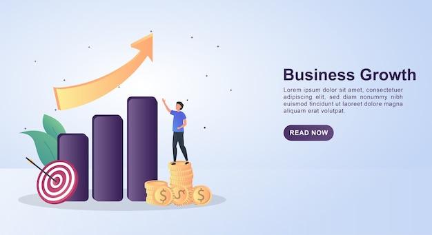Illustrazione concetto di crescita del business con un grafico a barre e una freccia rivolta verso l'alto.