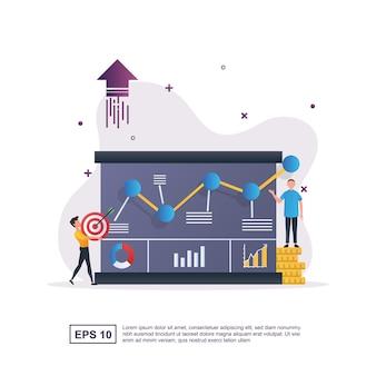 Concetto di illustrazione della crescita del business con un grafico in continuo aumento.