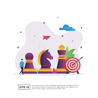 Illustrazione concetto di strategia aziendale con pezzi degli scacchi e obiettivo.