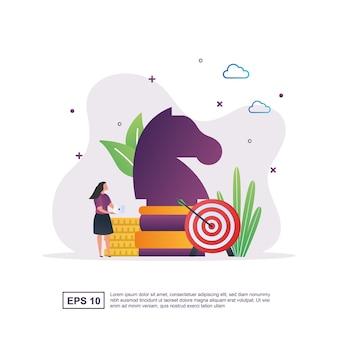 Concetto di illustrazione della strategia aziendale con grandi pezzi degli scacchi e obiettivi.