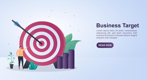 Illustrazione del concetto di obiettivo aziendale con una scheda di destinazione di grandi dimensioni.