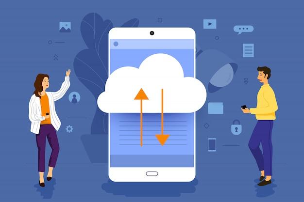 Uomo d'affari di concetto dell'illustrazione che lavora all'applicazione mobile insieme che costruisce la tecnologia cloud. illustrare.